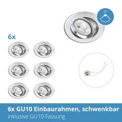 6x GU10 Einbaurahmen nickel gebürstet, inkl. GU10 Fassung, schwenkbar, 68mm Lochausschnitt