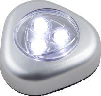 FLASHLIGHT Pushlight Kunststoff silber metallic, Kunststoff klar, Druckschalter,