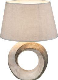 JEREMY Tischleuchte Keramik, Marmor, Textil grau, Schalter, LxBxH:310x200x415, exkl. 1xE27 40W 230V