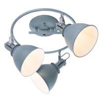 JONAS Strahler Metall grau silberfarben, Schirm innen weiß, D:330, H:210, exkl. 3xE14 40W 230V - GLO