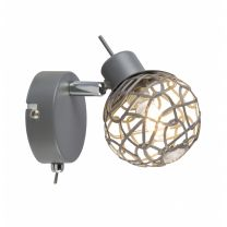 MOSA LED Strahler grau, Aluminiumgeflecht grau, Acrylkristalle klar, inkl. 10676, Schalter, BxH:80x1