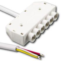 Mini RGB 6-fach Verteiler female, 100cm, 4-polig, weiß, max. 24V/6A