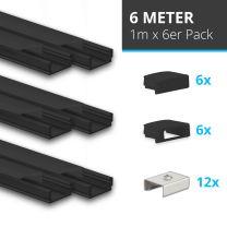 LED Aufbauprofil SET (6x1M) Mini 12 100cm, schwarz, inkl. Endkappen, schwarze Abdeckung