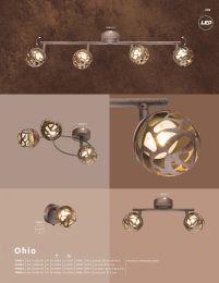 OHIO LED Strahler Metall rostfarben, Metall goldfarben, Spot mit Dekorstanzungen, Schalter, BxH:80x1